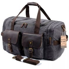 199cd54712 SUVOM Leather Canvas Duffle Bag Weekender Overnight Travel Duffel Gym Bag  Luggage Dark Grey     Check out this great product.