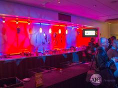 Red & Purple - creepy bar up-lighting for an Election-themed party. Halloween Decorations, Halloween Party, Halloween Lighting, Halloween Costumes, Event Planning, Wedding Planning, Chicago Wedding, Red Purple, Lighting Design