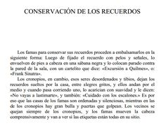 """""""Conservación de los recuerdos"""" En Historias de Cronopios y Famas de Julio Cortazar"""