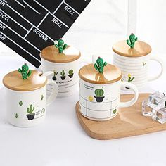 Cactus Bamboo Cover Porcelain Spoon Ceramic Cup With Lid Spoon Coffee Cup Breakfast milk cup (Random delivery) Cute Kitchen, Kitchen Items, Kitchen Decor, Coffee Cups, Tea Cups, Cactus Decor, Cottage Style Homes, Cute Mugs, Ceramic Cups