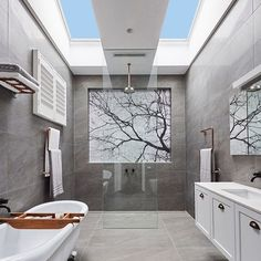 The Velux skylights were a real hit in last weekend's bathroom reveals.  Who doesn't want a bit of natural light and fresh air in their bathroom?! @sticksandwombat used the solar powered version and we think it looks absolutely amazing!! 😍 Shop the Velux tile on our homepage for details #theblockshop #9theblock #theblock #bathroom #skylight #bathroomdesign