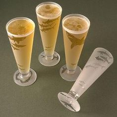 'Shark Attack' Pilsner Glasses Set by Asta Glass - The Perfect Glass for Parrotheads and their Land Shark Beers, the Softly Sandblasted Shark Attack Set of 4 Etched Pilsner Glasses by San...