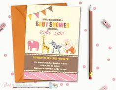 Animal Baby Shower Invitation, Zoo Animal Invitation, Safari Baby Shower Invitation, Animal Parade Baby Shower Invitation