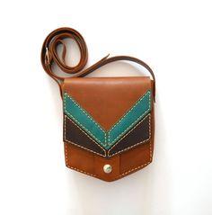 BROWN LEATHER PURSE / Leather bag / pouch / corssbody bag por Lanhe