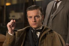 Murdoch Mysteries: Andrew Gower as Sherlock Holmes. Copyright CBC.