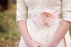 Soft Blush wedding dress belt sash  - pink  flower bridal gown belt - silk velvet - vintage - Swarovski rhinestones - wide beige ribbon. $129.00, via Etsy.