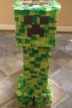 "Homemade ""Creeper"" piñata from minecraft."