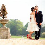 retro bride and groom red shoes   jamie bott wedding photography