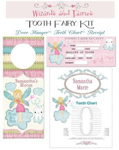 Tooth Fairy DIY Printable Package...Personalized...Tooth Fairy Teeth Chart...Tooth Receipt...Bedroom Door Hanger