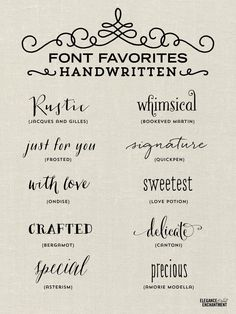 Font Favorites - Handwritten Fonts by Elegance and Enchantment