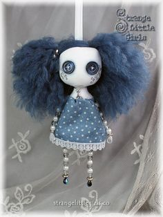 Gothic 'Beady Doll' button eyed cloth art doll by Strange Little Girls #buttoneyes #Gothicdolls #bluehair                                                                                                                                                                                 More