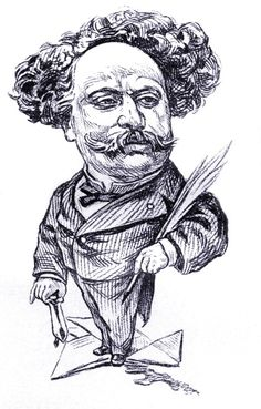 Alexandre Dumas, fils - caricature of the French author and playwright. By French caricaturist André Gill (17 October 1840 - 1 May 1885). AD fils: 27 July 1824 - 27 November 1895. (Photo by Culture Club/Getty Images)
