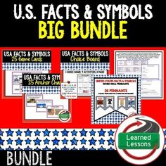 CIVICS US Symbols, Monuments, Songs, Oaths, Facts, Buildings BID BUNDLE This Civics BUNDLE has everything you need to engage students!  YOU CAN ALSO BUY IN A BUNDLE-CIVICS MEGA BUNDLE /a>-VISIT MY STORE AND FOLLOW TO GET UPDATES WHEN NEW RESOURCES ARE ADDED USA FACTS PACKET INCLUDES: USA Facts and SymbolsTest (3 pages)Vocabulary PowerPoint and Student Outline Pages (9 pages)Facts and Symbols Scavenger Sheet (5 pages) Teacher PowerPoint on USA Facts and Symbols (55 Slides) Student Copy of…