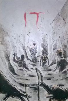 IT, libera interpretazione dal romanzo di Stephen King, matita e tempera su carta, di Matteo Tirimagni.