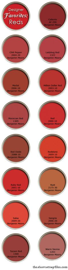 "Red Paint Colors: Favorite Picks From Designers. ""Benjamin Moore paints are closer to the sample chip than most."" Tanna Espy Miller, ""Ask a Designer"" columnist Red Paint Colors, Wall Colors, House Colors, Red Color, Red Kitchen, Kitchen Paint, Kitchen Colors, Kitchen Design, Kitchen Walls"