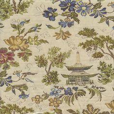Pagoda Classic Multi Blue Floral Oriental Woven Toile Upholstery Fabric - 50861 - Buy Fabrics - Buy Discount Designer Fabrics   BuyFabrics.com