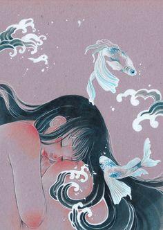 Sirenes 04 by Victoria-Rivero Art Anime Fille, Anime Art Girl, Pretty Art, Cute Art, Art Inspo, Art Sketches, Art Drawings, Bel Art, Art Du Croquis