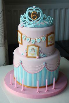 Disney princess birthday cake for Kasia, with a flower paste tiara on top. Happy birthday Kasia!