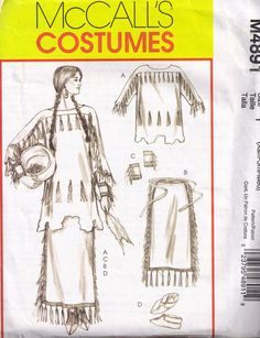 McCalls 4891 Sewing Pattern Native American Indian Plains Historical Costume Size xs - s - m Size 14 Bust - 36 Native American Clothing, Native American Crafts, Native American Fashion, Native American Indians, Native Fashion, Ethnic Fashion, American Art, Costume Patterns, Sewing Patterns