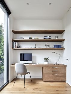 Wood-heavy home office in Balwyn Residence by Workroom | Photographed by Jack Lovel } VIC, Australia
