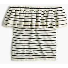 J.Crew Lightweight Striped Off-The-Shoulder Ruffle Sweater ($120) ❤ liked on Polyvore featuring tops, sweaters, j crew sweaters, lightweight sweaters, white off the shoulder sweater, off the shoulder ruffle top and fitted sweater