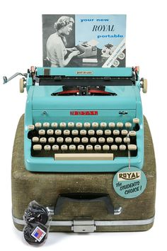 1957 Turquoise Royal Quiet De Luxe Typewriter / by Retroburgh