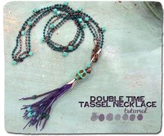 Double Time Tassel Necklace... free instructions... This double strand necklace links standard chain and ball chain together. The length is perfect for layering with a slouchy tee or wearing over a sweater. Make an extra pair of the lightweight tassels for earrings.