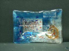 Greek fusing glass art plate Glass