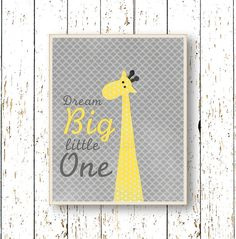 Dream Big Little One Yellow and gray nursery art by LilChipie, $14.00