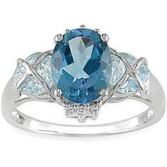 Miadora 10k Gold Blue Topaz and Diamond Accent Ring