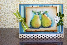 pair of pears by Sophia Landry - stamped and colored with Pan Pastels