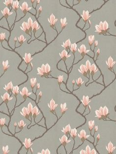 Cole and Son, Magnolia floral wallpaper in Pink & grey. This is an unashamedly feminine and classic wallpaper, ready to update your room into a sophisticated soft space. Pink And Grey Wallpaper, Cole And Son Wallpaper, Flowery Wallpaper, Classic Wallpaper, Silver Wallpaper, Pattern Wallpaper, Magnolia Trees, Magnolia Flower, Magnolia Wallpaper