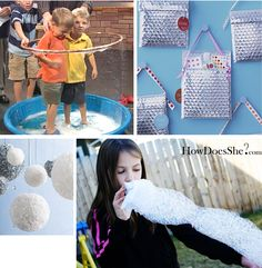 bubble wrap uses: party favor bag dance party cut into shapes and paint on the bubble side and use as stamps