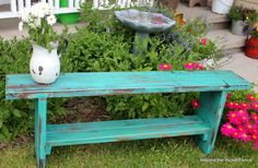 Wood / Pallet DIY bench w/ shelf . Wood / Pallet DIY bench w/ shelf . Garden Bench Table, Picnic Table, Painted Furniture, Diy Furniture, Turquoise Furniture, Turquoise Table, Repurposed Furniture, Casa Park, Wood Projects