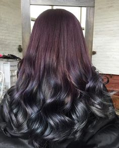 When galactic hues meet matte metallic tones in this hair color design.