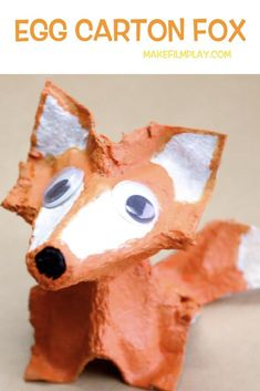 Egg Carton Fox Make Film Play Here is a fun kids? craft project that transforms an egg carton into a sweet egg carton fox. It requires just an egg carton paint glue and scissors. Watch the video to see how we made this egg carton fox. Animal Crafts For Kids, Fall Crafts For Kids, Craft Projects For Kids, Animal Projects, Craft Activities For Kids, Toddler Crafts, Animals For Kids, Preschool Crafts, Art For Kids