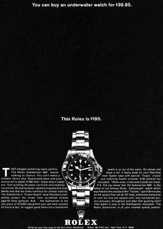 """A 1964 Rolex Submariner Advertisement """"This Rolex is $195."""" #vintagehourwatches"""