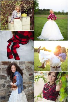 Brides wearing plaid and denim shirts
