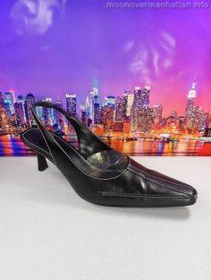 Karen Scott Majestic black leather slingback career pumps Womens shoes size 7 M #KarenScott #Slingbacks