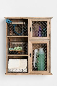 Reclaimed Wood Storage Unit from Urban Outfitters - $139 (cute for hanging above the toilet)