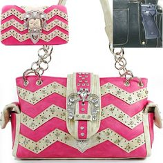 Click Here and Buy it on Amazon.com Price:	$56.99  C&S Western Concealed Carry / Concealed Weapon / Gun Pocket Bling Bling Rhinestone Gemstone Studded Tiara Buckle Turn Over Top Laser Cut Zig Zag Detailed Side Pocket Tote Satchel Shoulder Handbag Purse with Wallet