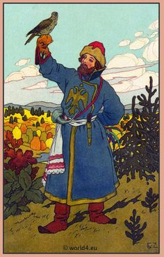 Russian Falconry. Russian costume