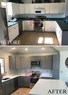 NOVA LIGHT GRAY Cabinets A before and after image of our RTA Nova Light Gray kitchen cabinets sent by our client, Matt Deppen. Overall extremely satisfied with Kitchen Cabinet Kings. I highly recommend them and can't wait to use them for my next project. Kitchen Cabinet Kings, Grey Kitchen Cabinets, Built In Cabinets, Interior Design Presentation, Interior Design Tips, Interior Ideas, Design Ideas, Rustic Kitchen Design, Kitchen Designs