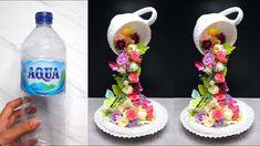 Floating Tea Cup With Plastic Bottle | Cara Membuat Cangkir Tumpah denga... Pop Bottle Crafts, Plastic Bottle Crafts, 3d Paper Crafts, Diy Arts And Crafts, Diy Crafts, Fabric Flower Tutorial, Fabric Flowers, Teacup Crafts, Teacup Decor