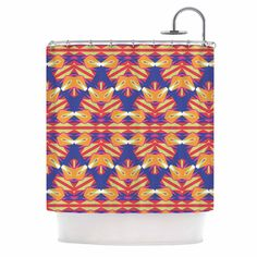 "Miranda Mol ""Ethnic Border"" Indigo Orange Shower Curtain from KESS InHouse"