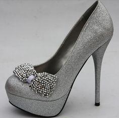 Silver High Heels With Bows | Tsaa Heel