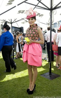 Oaks Day, Spring Racing Carnival 2012 Melbourne Australia. Camilla and Marc skirt, self designed top. Picture Kirsty Umback