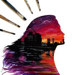 Beautiful Silhouette Paintings by British Artist Danielle Foye Silhouette Painting, Spray Paint Art, Shadow Art, Art Corner, Pastel Art, Anime Art Girl, Art Sketchbook, Cute Art, Cool Drawings