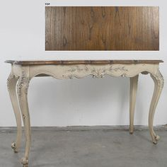 Solid Mahogany French Country Console Table Parchment Finish Contrasting Top New