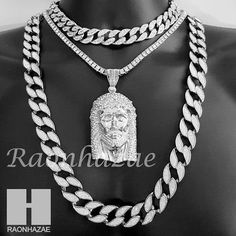 Hip Hop Iced Out Jesus Pendant 16 Iced Out Choker 18 Tennis 30 Cuban Chain Gold Chains For Men, Skull Bracelet, Silver Accessories, Luxury Jewelry, Jewelry Trends, Fashion Jewelry, Male Jewelry, Chokers, Hip Hop